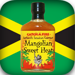 Mangolian Sweet Heat pepper sauce from catch a fire authentic jamaican gourmet