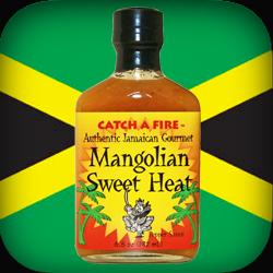 Mangolian Sweet Heat pepper sauce from catch a fire authentic jamaican gourmet